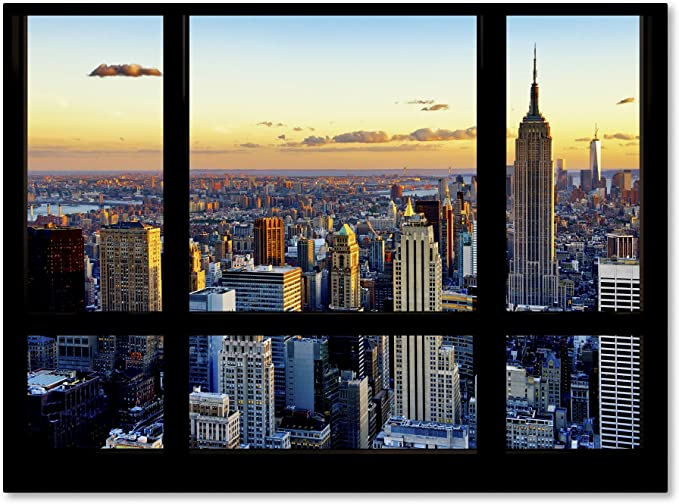 Window View Nyc Sunset 2 By Philippe Hugonnard Wall Decor 35 X 47 Canvas Wall Art Posters Prints