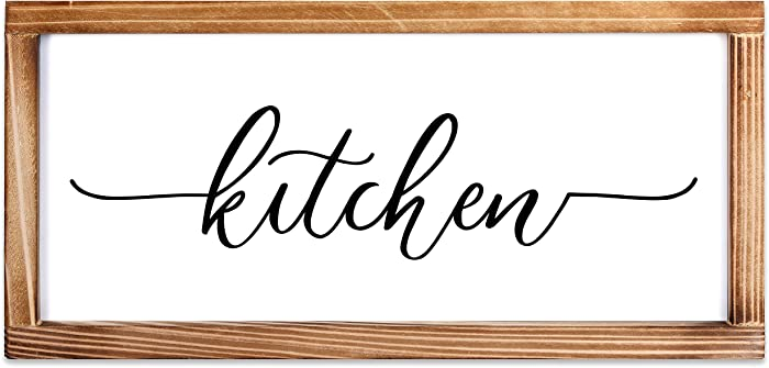 MAINEVENT Kitchen Sign - Rustic Kitchen Decor Sign - Modern Farmhouse Kitchen Decor, Kitchen Wall Decor, Rustic Home Decor, Country Kitchen Decor with Solid Wood Frame 8x17 Inch