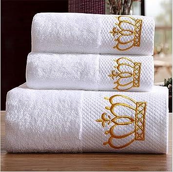 Fuya 3 piezas Bordado Corona Blanco Toallas de Hotel de 600 G algodón juego de toallas