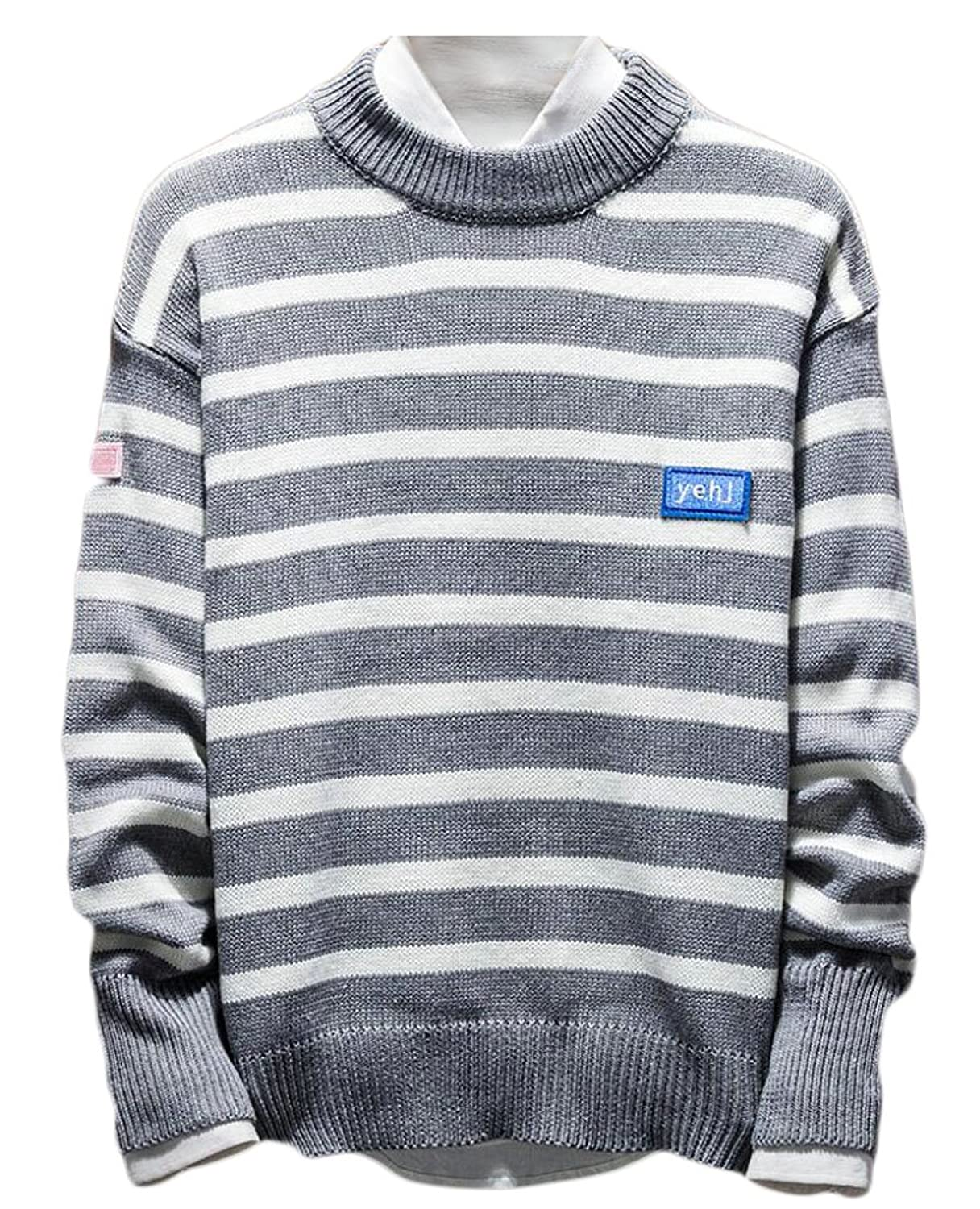 Cheap GAGA Men Classic Striped Print Crew Neck Knit Sweater hot sale