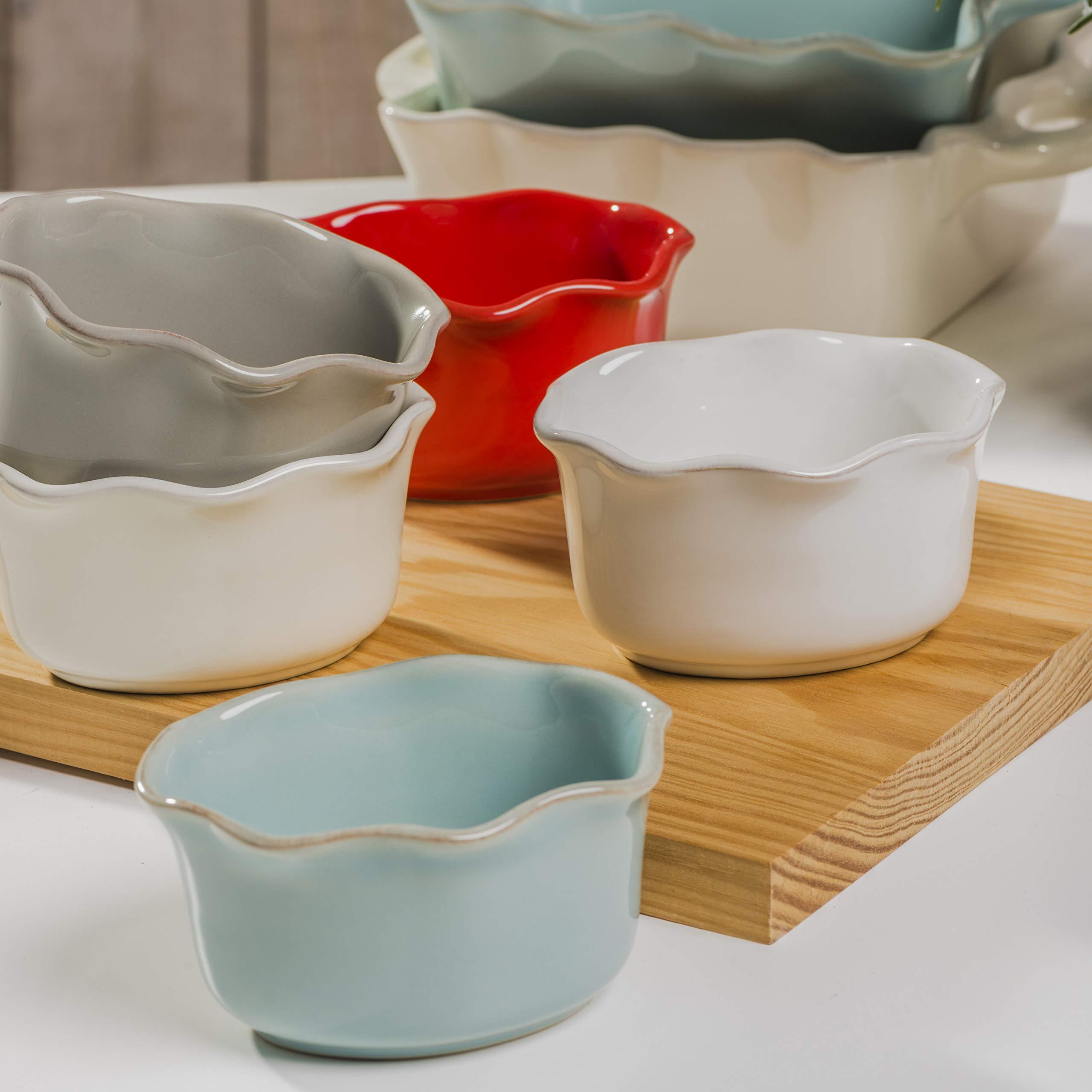 Casafina Cook & Host Collection Stoneware Ceramic Ruffled Ramekin 4.5'' (Set 4), Grey by Casafina (Image #2)