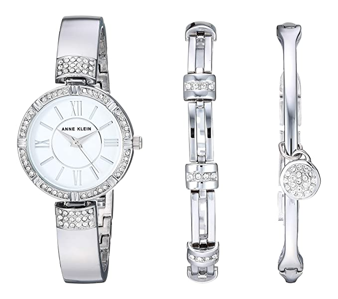 Anne Klein Women's AK/3295SVST Swarovski Crystal Accented Silver-Tone Bangle Watch and Bracelet Set