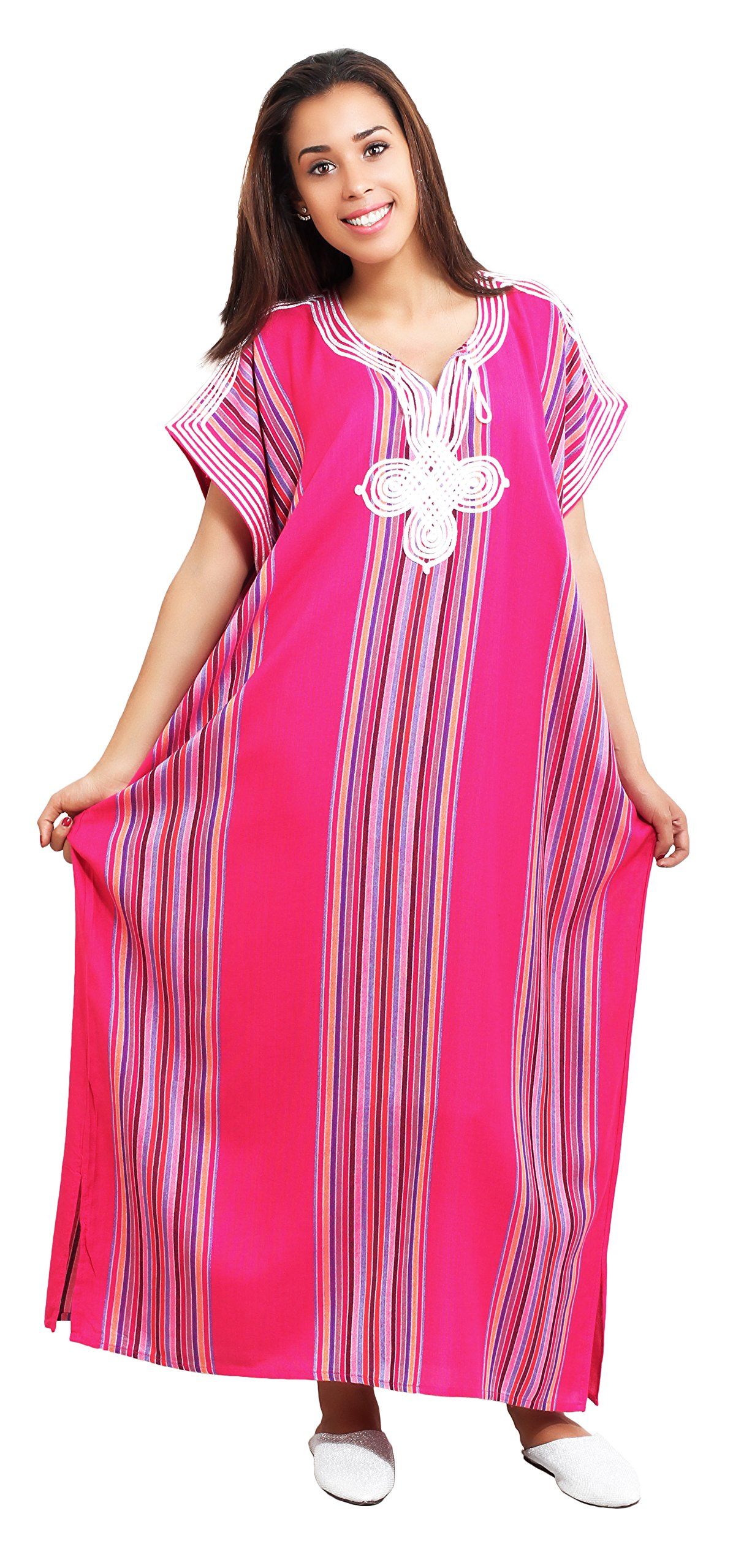 Moroccan Caftan Women Light Weight Linen Handmade with Embroidery Small To Large Ethnic Design Magenta
