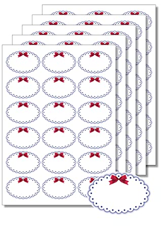 90 Etiketten oval Blauer Rahmen Schleife zum Bedrucken