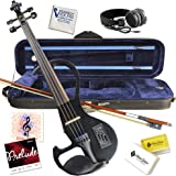 Electric Violin Bunnel Edge Outfit 4/4 Full Size (BLACK)- Carrying Case and Accessories Included - Headphone Jack…