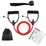 Resistance tube/Resistance band by TRESSCA| 1.4 meter extra long | Adjustable length | Includes High Quality Door Anchor| Includes Workout Poster with 40 Workouts| Perfect for Muscle building, Resistance Training, Home Workouts, Physical Therapy, Boxing Training, Weight loss Workouts