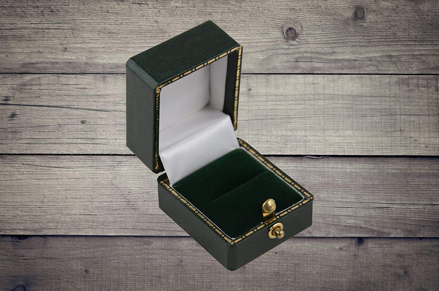 Pack of 10 Green Antique Leatherette Style Ring Boxes Top End Jewellery Ring Box