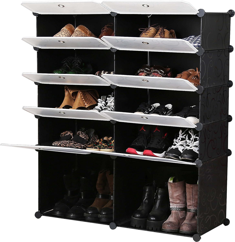 Unicoo Multi Use Diy Plastic 10 Cube Shoe Rack Organizer Bookcase Shoes Cabinet 2 5 Black With White Doors Home Improvement