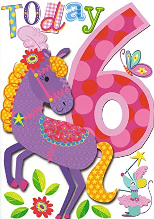 6 Heute Madchen 6 Geburtstag Karte Mini Munchkins Pferd Amazon