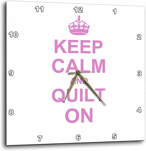 3dRose DPP_157760_2 Keep Calm and Quilt on Carry on Quilting Quilter Gifts Pink Fun Funny Humor Humorous Wall Clock, 13 by 13-Inch
