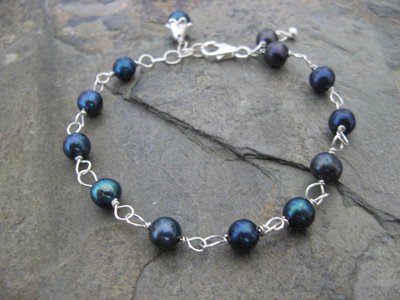 Navy Blue Cultured Pearl Sterling Silver Blossom Bracele tBoho Artisan Jewelry