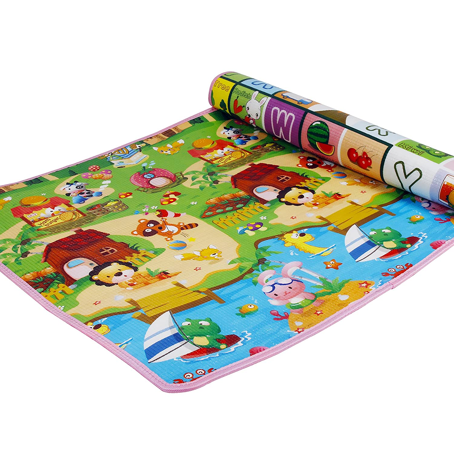 SimpVale Double-Sided Mats Foam Waterproof Baby Crawling Thickening Mat Drawing Alphabet Figures Animals Pattern 180cm x 120cm x1cm 70.86inch x 47.24inch x 0.4inch