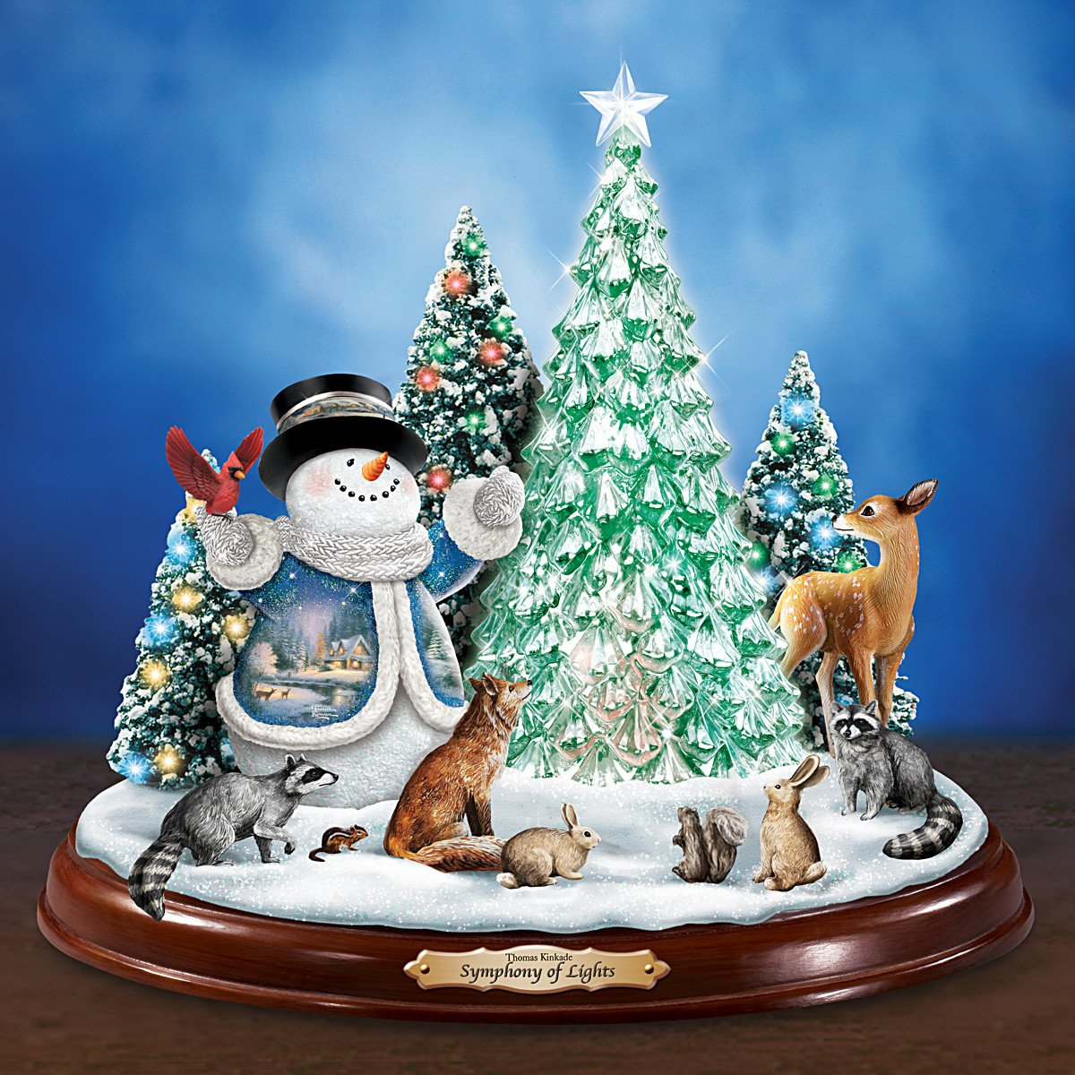 Kinkade christmas ornaments - Amazon Com Thomas Kinkade Christmas Sculpture With Color Changing Lights Plus Art And Music By The Bradford Exchange Home Kitchen