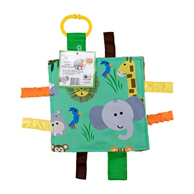 """Baby Sensory Crinkle & Teething Square Lovey Toy with Closed Ribbon Tags for Increased Stimulation: 8""""X8"""" (Jungle Safari) : Baby"""