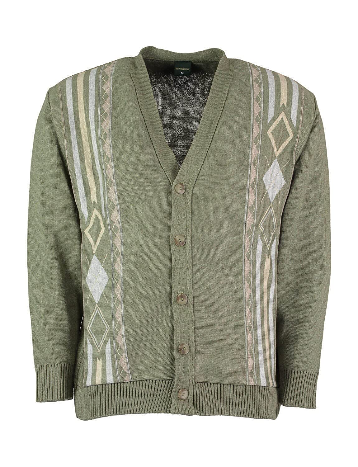 60s 70s Men's Jackets & Sweaters Benbrook Mens Jaquard Button Cardigan $61.10 AT vintagedancer.com