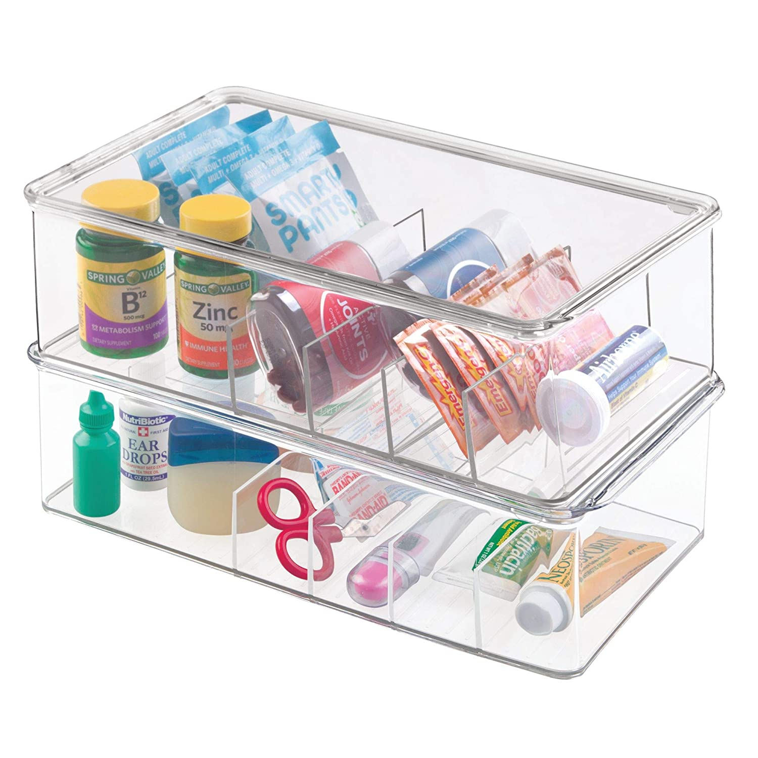 Amazon.com: mDesign Stackable Plastic Storage Bin Box with Lid - Divided Organizer for Vitamins, Supplements, Serums, Essential Oils, Medicine Pill Bottles, ...