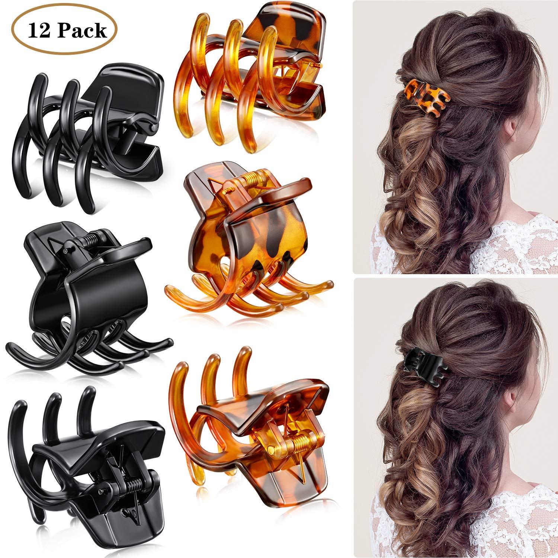 12 Pieces Hair Claw Clips Medium Size Hair Claws 1.3 Inch Hair Jaw Clip Claw Clip Grip for Women Girls Thick or Medium Hair (Black and Brown)
