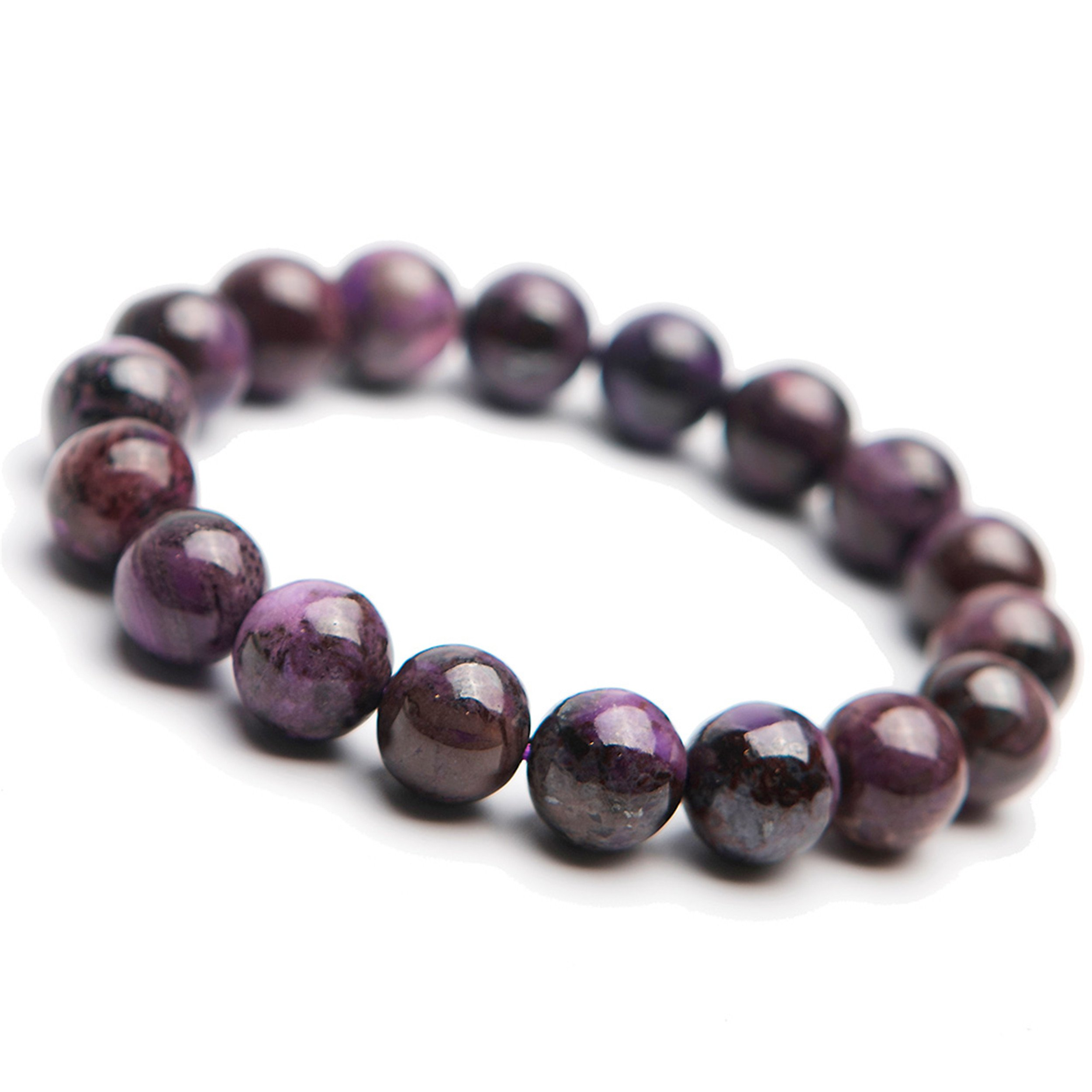 11mm Purple Natural Sugilite Gemstone Crystal Stretch Round Bead Bracelet
