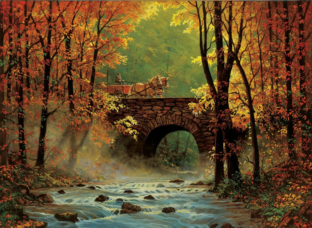 Autumn Bridge 1500 pc Jigsaw Puzzle