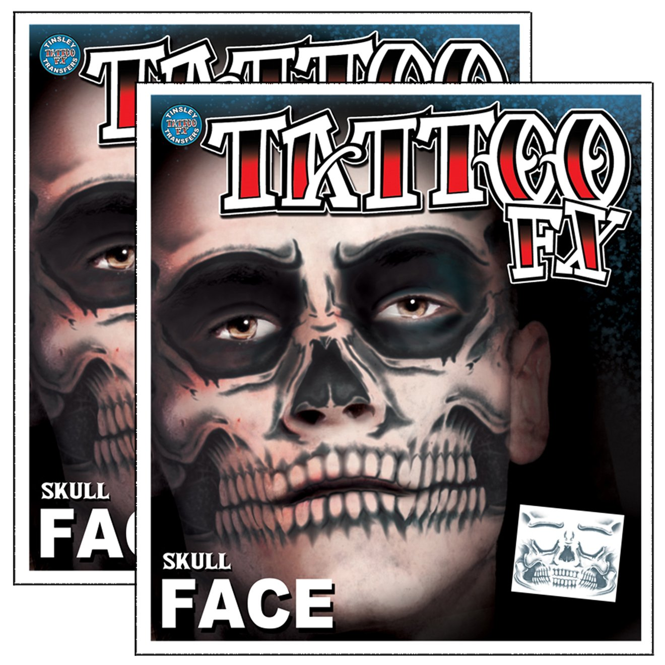 Day of the Dead Skeleton Skull Full Face Temporary Tattoo Kit - 2 Complete Kits by Tinsley Transfers