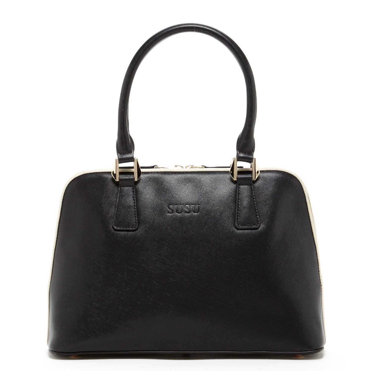 SUSU Saffiano Leather Satchel For Women Designer Structured Crossbody Bag Purse For Work Top Handle Handbags On Sale Black Tote Shoulder Strap Bags with Zipper Closure Handbag Dome Shape Purses