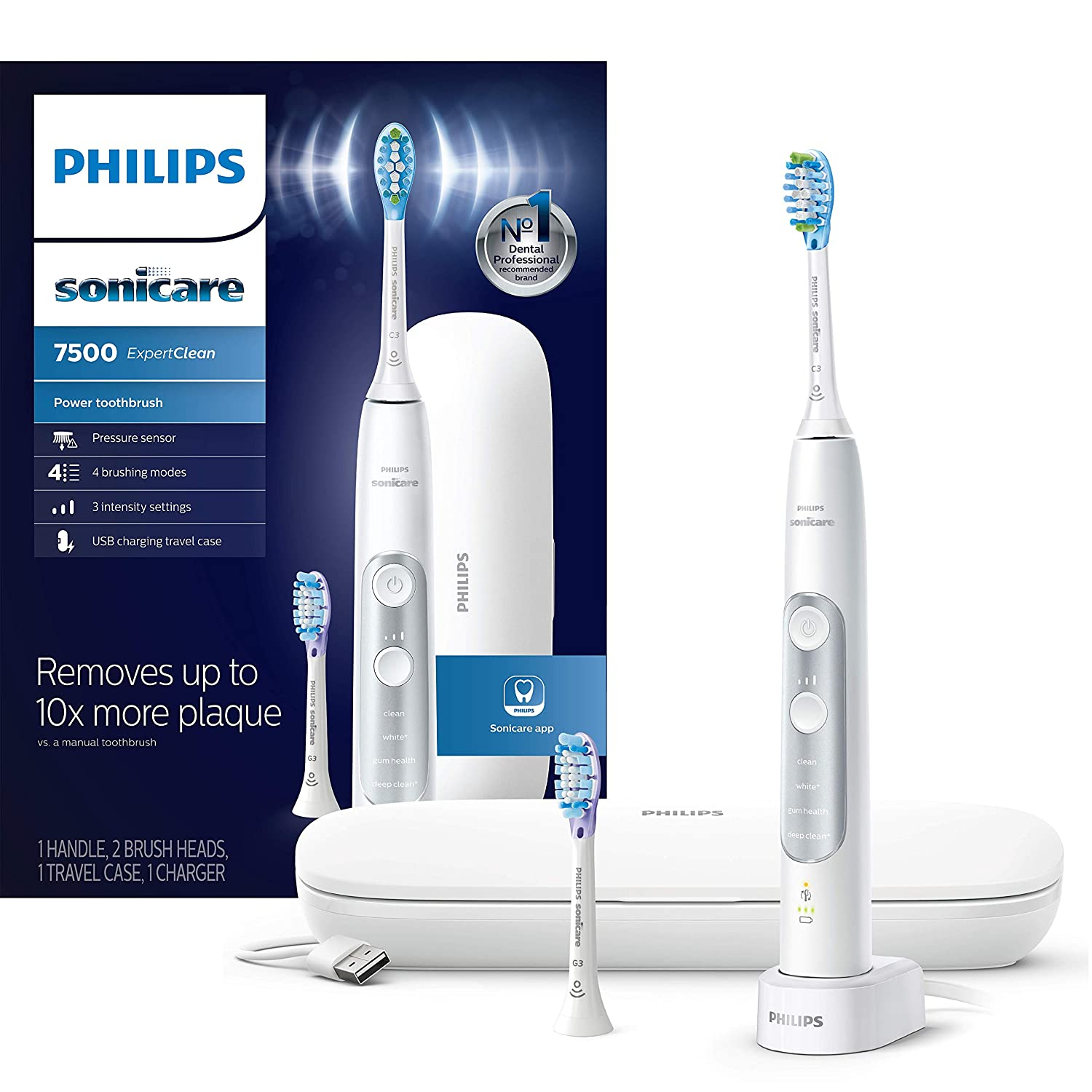 Philips Sonicare HX9690/06 ExpertClean 7500 Bluetooth Rechargeable Electric Toothbrush, White