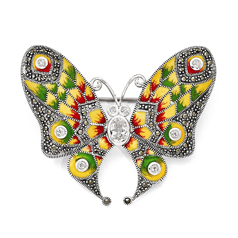 Sterling Silver Marcasite, Enamel & White Topaz Butterfly Pin