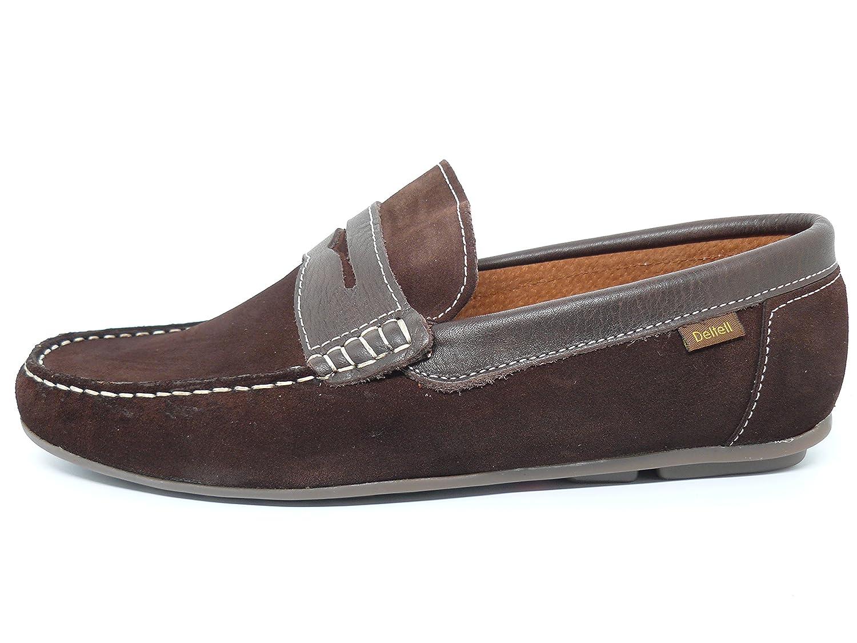 Zapato casual hombre tipo mocasin DELTELL en piel serraje color ...