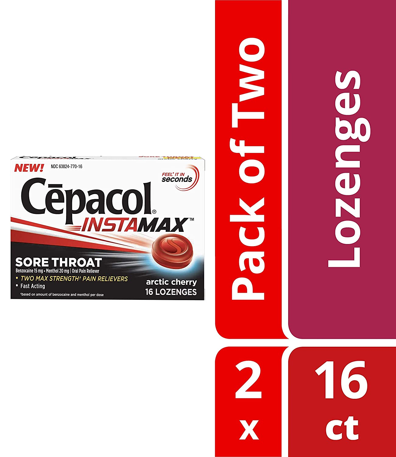 Cepacol Instamax Sore Throat Lozenges, Arctic Cherry, Fast Acting, Max  Strength Oral Pain Relief-