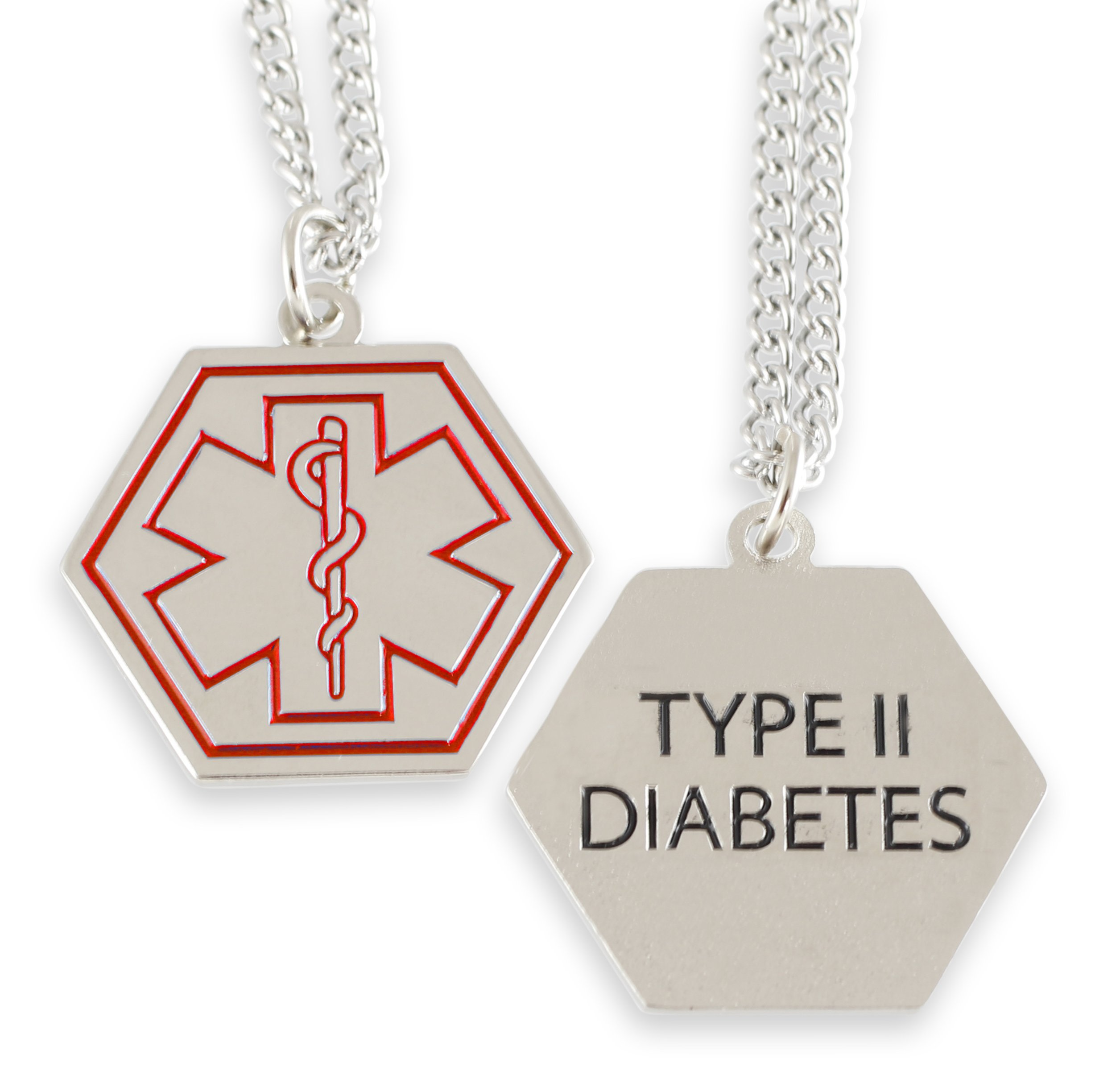 Type 2 Diabetes Medical Alert ID Stainless Steel Pendant Necklace with 26'' Chain (Silver Necklace - Red Star Of Life)
