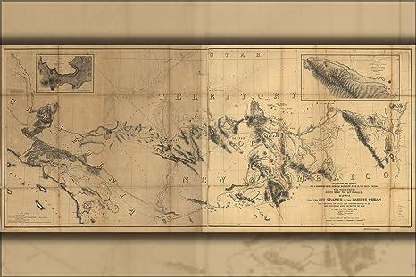 Amazon.com : 16x24 Poster; Map Rio Grande River To Pacific ...