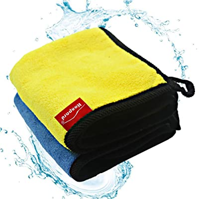 Konpard Car Detailing Towels 840gsm Microfiber Cleaning Cloths, Lint Free Microfiber Dual Layer Ultra-Thick Car Polishing and Drying Cloth Auto Detailing Towels (2-Pack ; 11.8 x 15.7 inch): Home & Kitchen