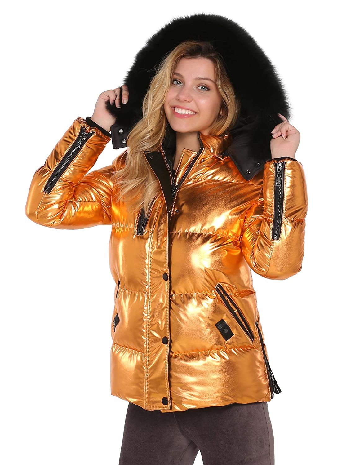 SELITE COLLECTION Metalic orange Puffer Woman Jacket with Real Fur