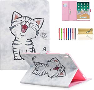 "Dteck Case for iPad 10.5-Inch with [Stylus Pen], Nice Flip Smart Stand Case PU Leather Protective Pocket Cover for Apple iPad Pro 10.5"" 2017/ iPad Air (3rd Gen) 2019 10.5 Inch-Happy Cat"