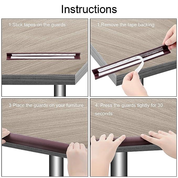 Protectores para bordes y esquinas - 6 metros con 8 protectores - para muebles del protector de la esquina y el borde de la mesa -Protección a prueba de ...