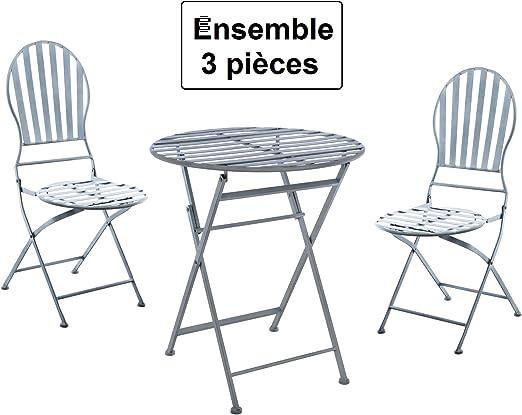 Conjunto para terraza 3 piezas: 1 mesa redonda + 2 sillas – estilo ...