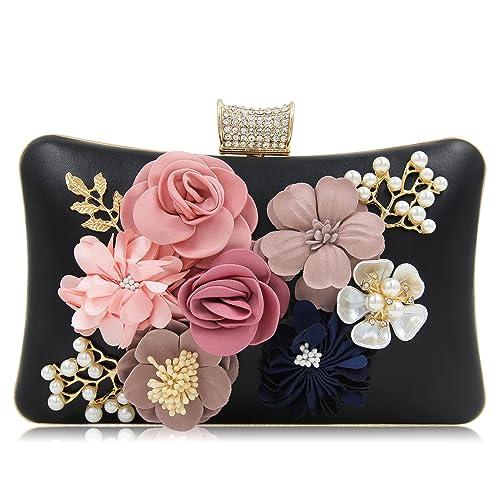 Milisente Women Flower Clutches Purses Bag Beaded Rhinestones Evening  Handbags (Black)