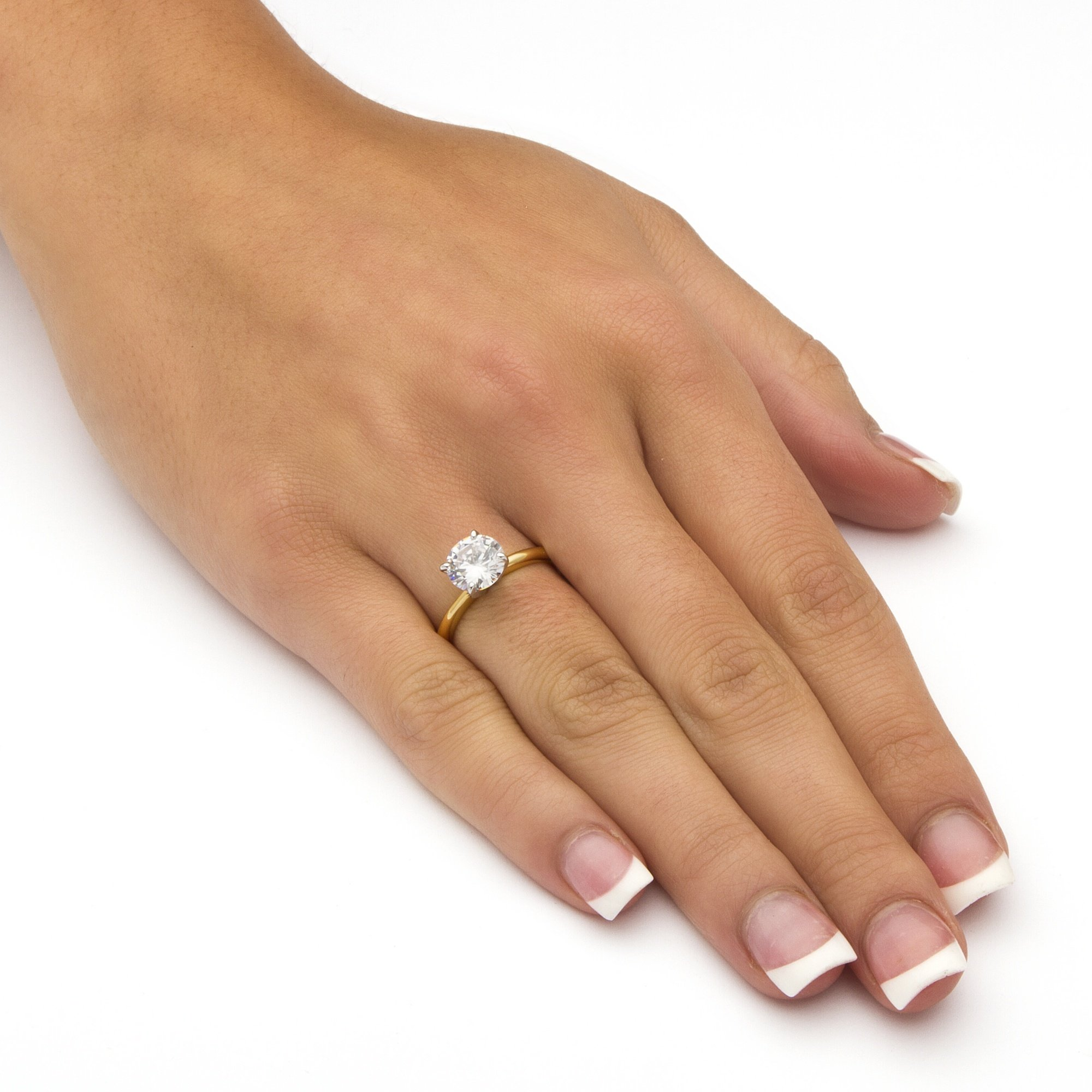 18K Yellow Gold Plated Round Cubic Zirconia Solitaire Engagement Ring