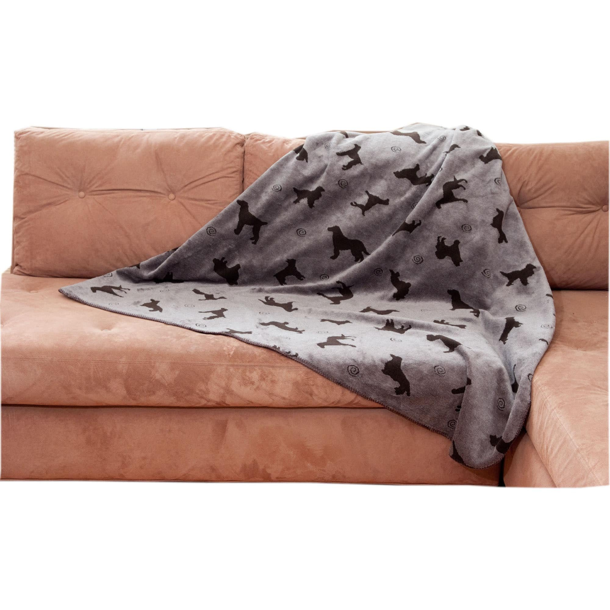 Cpc Plush Tossed Dog Throw for Pets, 60 by 90-Inch, Grey
