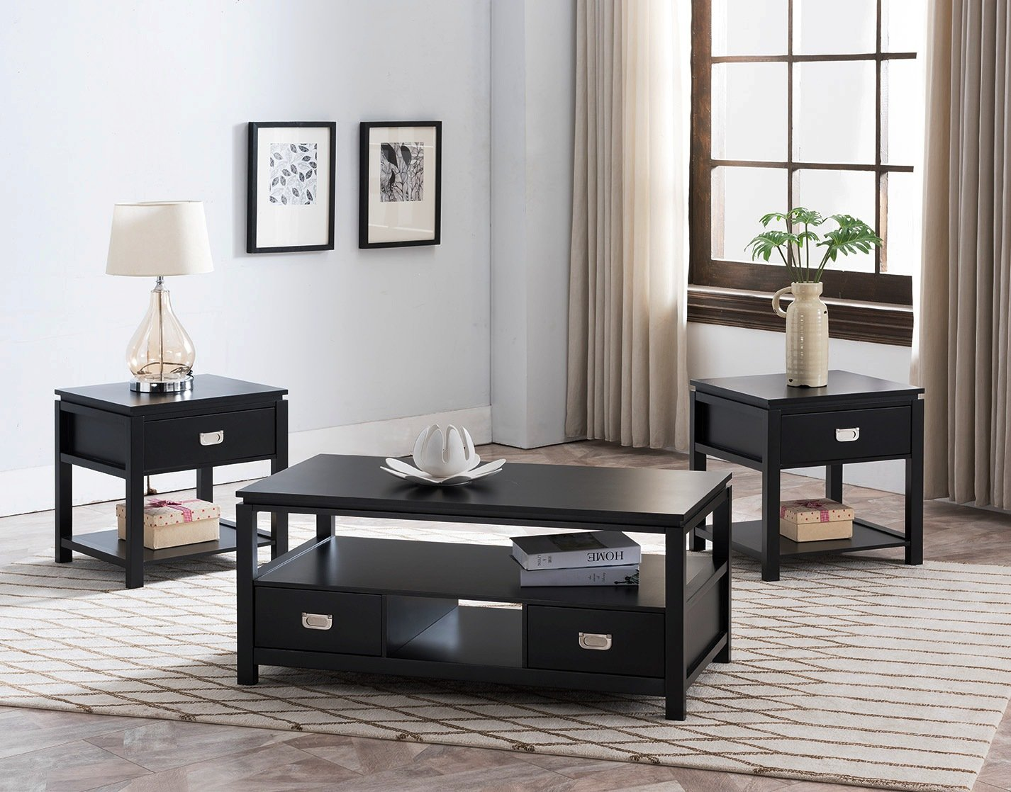 Kings Brand Furniture 3 Piece Black Finish Wood Storage Occasional Table Set, Coffee Table & 2 End Tables by Kings Brand Furniture