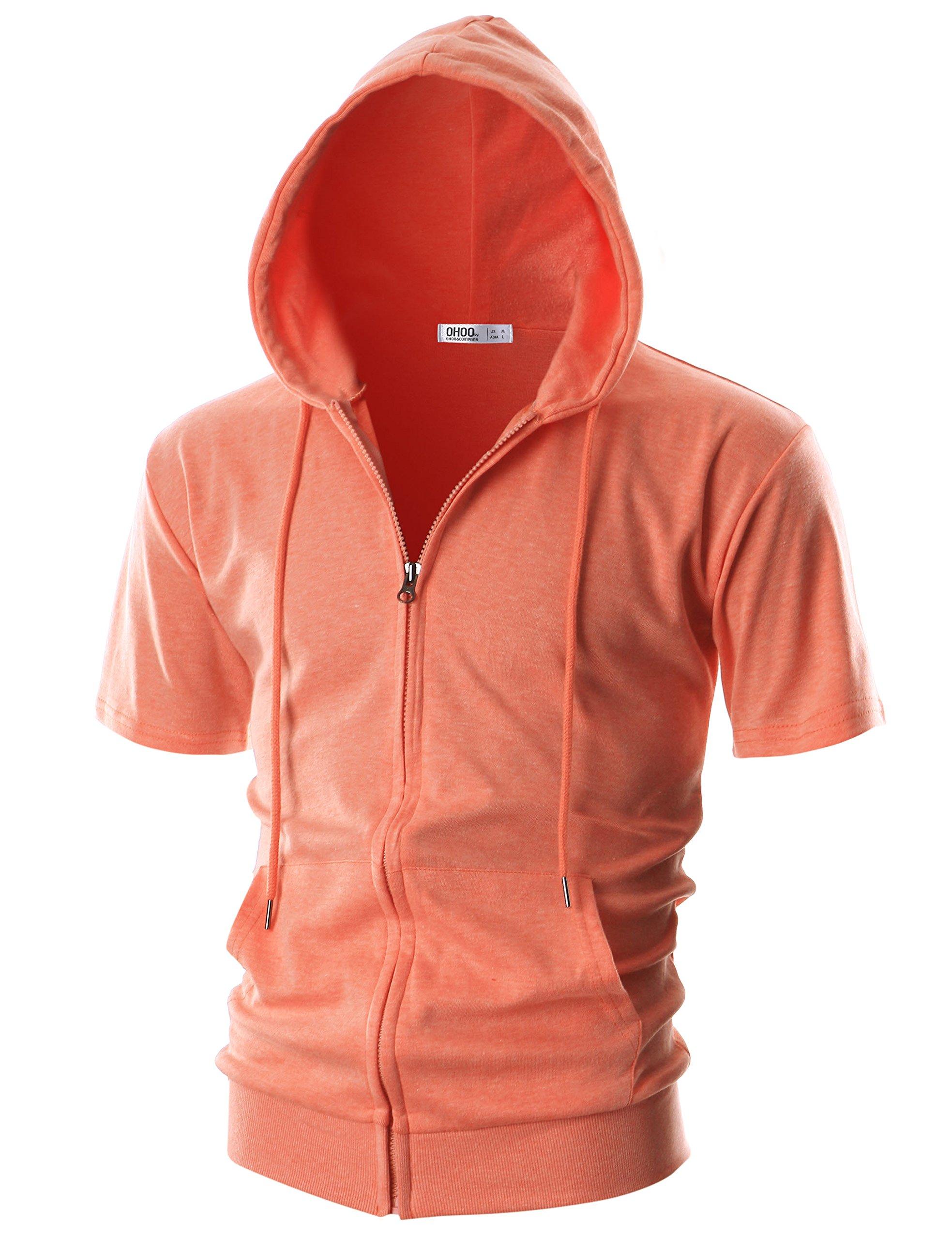 Ohoo Mens Slim Fit Short Sleeve Lightweight One-Tone Zip-up Hoodie with Kanga Pocket/DCF056-ORANGE-XL