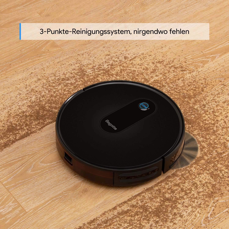 Robot aspirador Bagotte BG600 Superslim (2.8 pulgadas), potente Sog 1400 Pa, auto-cargable, con estación de carga para suelos duros, alfombras, baldosas, ...
