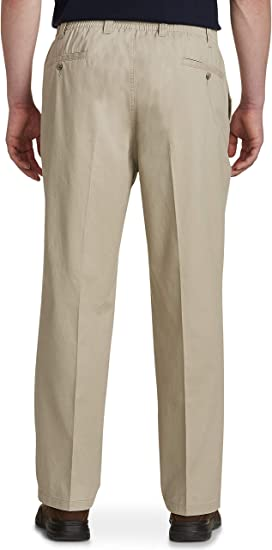 Khaki Harbor Bay by DXL Big and Tall Waist-Relaxer Pleated Twill Pants 44 Regular//32 Inseam