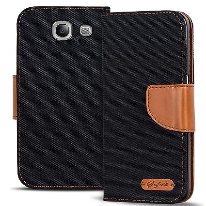 Verco Galaxy A5 Hülle, Schutzhülle für Samsung Galaxy A5 2016 Tasche Denim Textil Book Case Flip Case - Klapphülle Schwarz