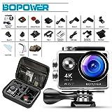 BOMAKER Action Sport-Kamera 4K HD 12MP Cam 170 Ultra-Weitwinkel, Wasserdicht, mit Montage Zubehör Kit für Radfahren Schwimmen Klettern Tauchen