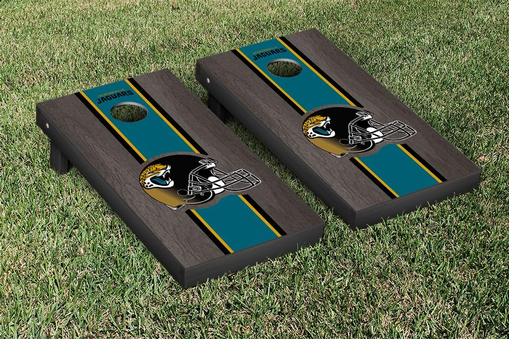 NFL Jacksonville Jaguars Onyx Stained Stripe Version Football Cornhole Game Set, 24'' x 48'', Multicolor by Victory Tailgate (Image #1)