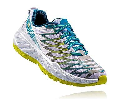 HOKA ONE ONE Women's Clayton 2 Running Shoe, White/Acid, 7.5 B(