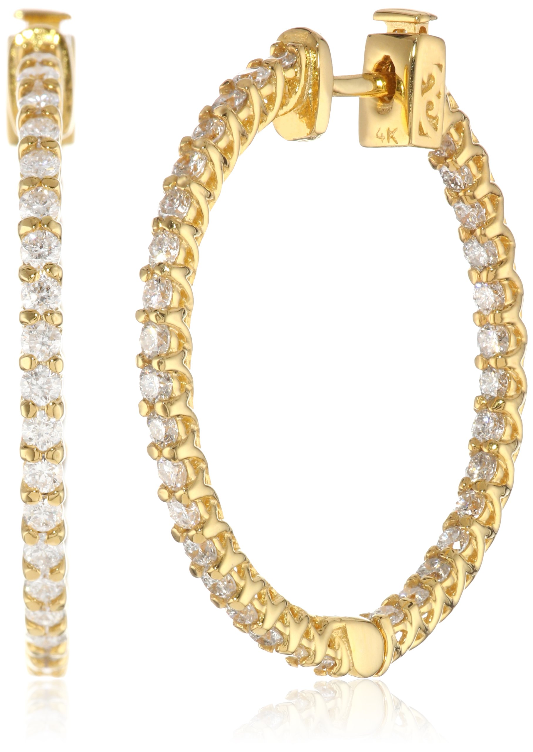 14k Yellow Gold Diamond Inside and Outside Hoops, 2 cttw (H-I Color, I1Clarity)