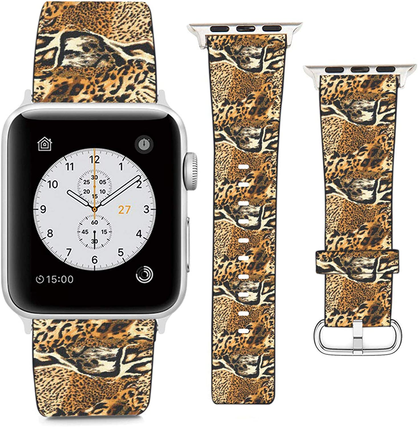 Compatible with Apple Watch Wristband 42mm 44mm, (Tiger Skin Pattern) PU Leather Band Replacement Strap for iWatch Series 5 4 3 2 1