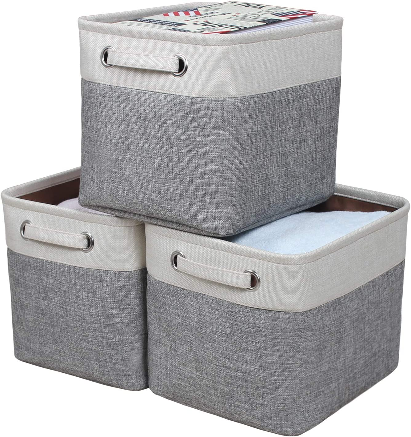Kntiwiwo Foldable Storage Bin Collapsible Basket Cube Storage Organizer Bins with Carry Handles for Home Closet Nursery Drawers Cube Organizer, Set of 3